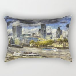 The River Thames And City Art Rectangular Pillow