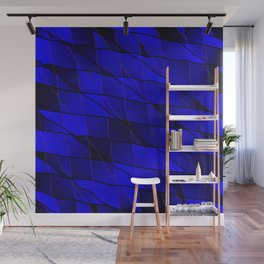 Mirrored gradient shards of curved blue intersecting ribbons and horizontal lines. Wall Mural
