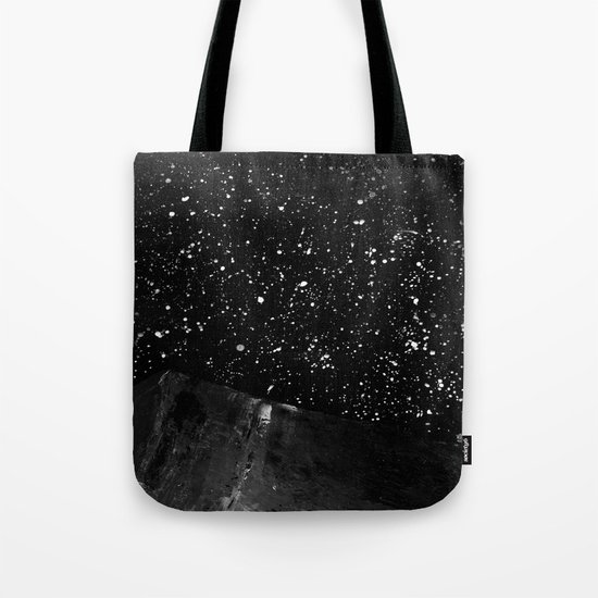 Moon Rising in the dark Black and White Tote Bag