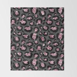 Black & Rose Gold Leopard Print Glitter Throw Blanket
