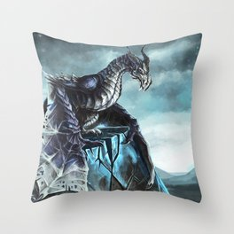 Frost Dragon Throw Pillow