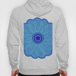 The Hand Drawn Funky Floral Retro Classic -Blue Moon Flower Design Hoody