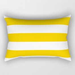 Tangerine yellow - solid color - white stripes pattern Rectangular Pillow