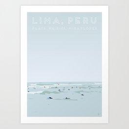 Lima, Peru, Playa Waikiki, Miraflores Travel Poster Art Print