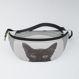 Mosaic grey frame with Black Cat Fanny Pack