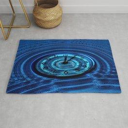 Hands of Time Blue Rippling Water Art Motif Rug