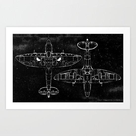 Spitfire Mk. XIV (white) Art Print