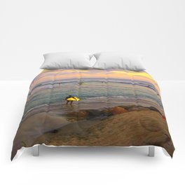Surfer, Sunset, Cardiff, CA Comforters
