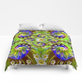 ULTRA VIOLET GREEN DAFFODIL GARDEN MAZE Comforters