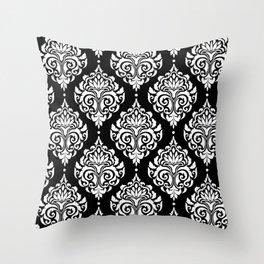 Black Monochrome Damask Pattern Throw Pillow