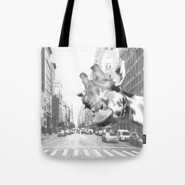 Black and White Selfie Giraffe in NYC Tote Bag