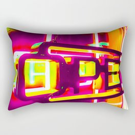 night light with open neon sign in pink yellow green background Rectangular Pillow