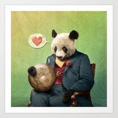 Wise Panda: Love Makes the World Go Around! Art Print