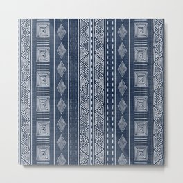 Mudcloth Navy Blue and White Vertical Tribal Pattern Metal Print