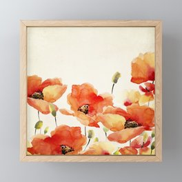 Poppy Flower Meadow- Floral Summer lllustration Framed Mini Art Print