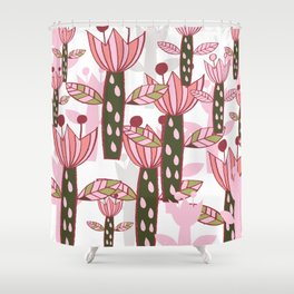 flower pink contemporary kids nursery Shower Curtain