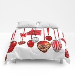 RED-WHITE CHRISTMAS ORNAMENTS FROM SOCIETY6 Comforters