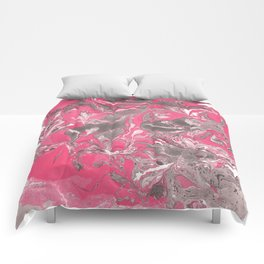 Pink and gray Marble texture acrylic paint art Comforters