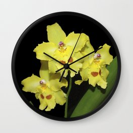 Glorious Golden Orchid - Odontonia Yellow Parade Alpine Wall Clock
