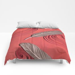 Feathers in the wind - paper art print Comforters