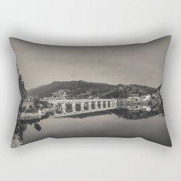 Bridge across Cavado river (B&W). Geres National Park, Portugal Rectangular Pillow