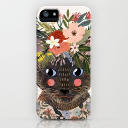 Siamese Cat with Flowers iPhone Case