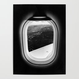 Window Seat // Scenic Mountain View from Airplane Wing // Snowcapped Landscape Photography Poster