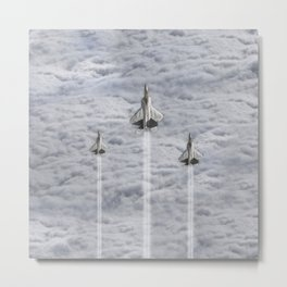 F22 Stealth Fighters Climbing in Clouds Metal Print