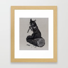 Folk musician cat Framed Art Print