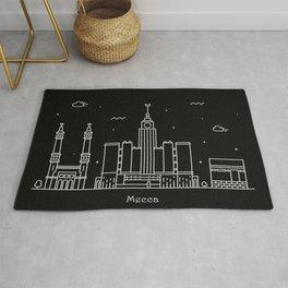 Mecca Minimal Nightscape / Skyline Drawing Rug