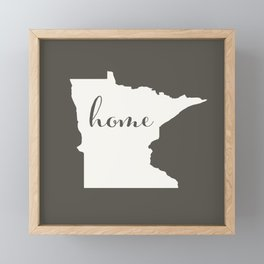 Minnesota is Home - White on Charcoal Framed Mini Art Print