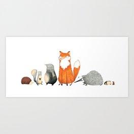Woodland Creatures Art Print