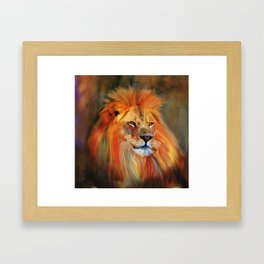 Aslan - Colorful Lion Framed Art Print