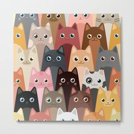 Cats Pattern Metal Print