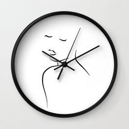 Minimal Lady Drawing - Kiss Me Cora Wall Clock
