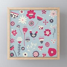 Scandi Birds and Flowers Blue Framed Mini Art Print