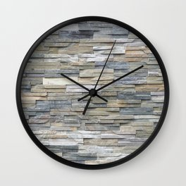Gray Slate Stone Brick Texture Faux Wall Wall Clock