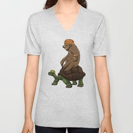 Sloth Rides A Turtle - Speed Is Overrated Unisex V-Neck