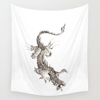 dragon Wall Tapestries featuring Dragon by Ju.jo.weh
