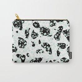 Triple Terrazzo - Mint Green Black & White Modern Speckle Pattern Carry-All Pouch