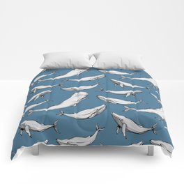 Whales in blue Comforters