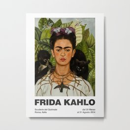 Frida Kahlo Exhibition Poster Frida Kahlo Self Portrait with Thorn Necklace and Hummingbird Roma Metal Print