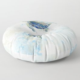 Swimming Together 2 - Sea Turtle  Floor Pillow
