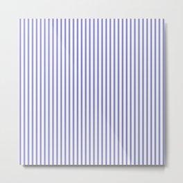 Small Australian Flag Blue on White Mattress Ticking Stripes Metal Print