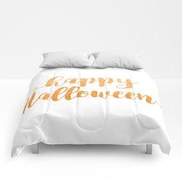 Happy Halloween | Orange Glitter Comforters