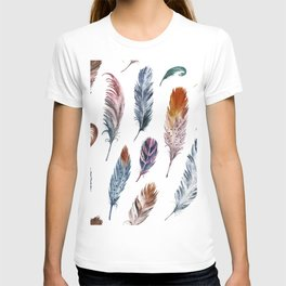 Colorful watercolor feathers pattern T-shirt