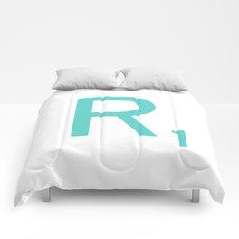 Aqua R Scrabble Letter Art Comforters