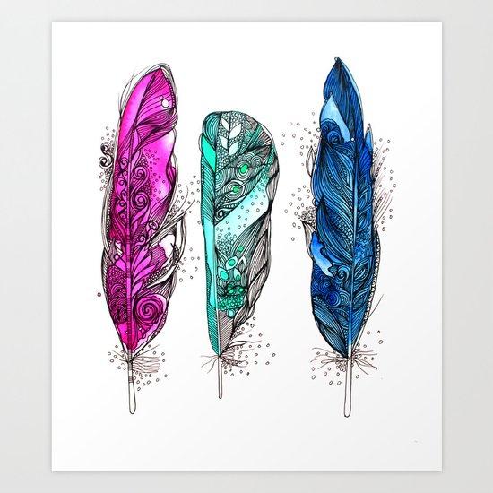 dream feathers 2 Art Print