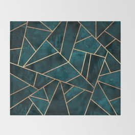 Deep Teal Stone Throw Blanket