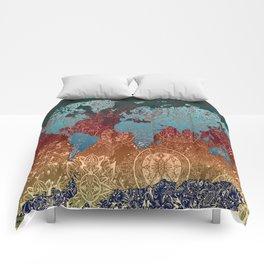 world map mandala vintage Comforters
